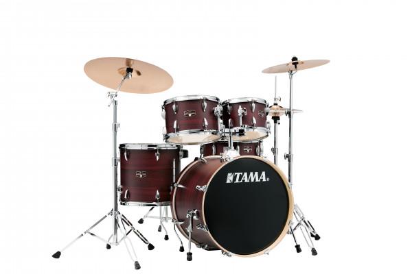 """Tama Drumset Imperialstar, 20"""", Burgundy Walnut Wrap/Chrom Hardware"""