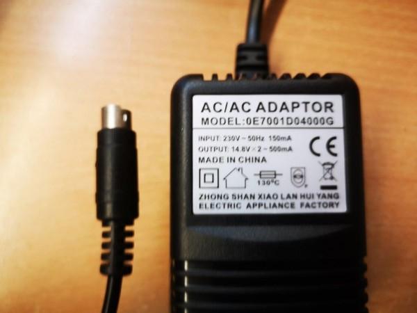 Netzteil 2 x 14,8V AC, 2 x 500mA, 3-pol. Stecker
