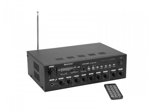 4-Zonen-ELA-Mono-Mischverstärker mit MP3-Player, Bluetooth, Zonen schaltbar, 120 Watt